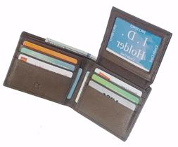RFID Protection Bifold Mens Wallet Leather Signal Blocking C
