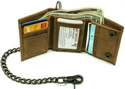 RFID Safe Vintage Brown Leather Biker Trifold Chain Wallet w