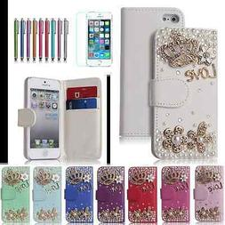 Rhinestone Case Wallet Purse for Girls Women with Bling Crys