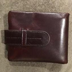 Rich Brown Oiled Leather Wallet With Strap For Men Lightweig
