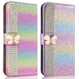 For Samsung Galaxy S10/9/8+ Girls Bling Rainbow Wallet Stand