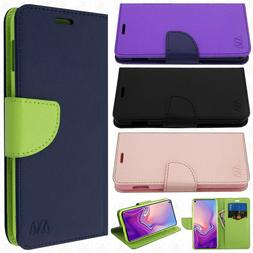 For Samsung Galaxy S10E Premium Leather Tone Wallet Pouch Fl