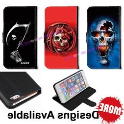 Skull PU Leather Wallet ID Card Slot Stand Case for iPhone/S