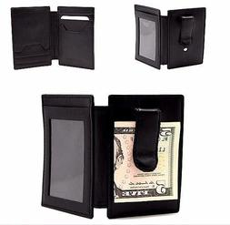 Slim Bifold Calf Leather Minimalist Front Pocket Wallets for