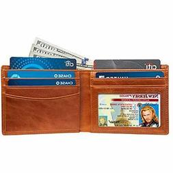 Slim Bifold RFID Bloking Wallet Men Genuine Leather Packed I