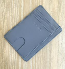 Buffway Slim Blue Leather Wallet RFID protection