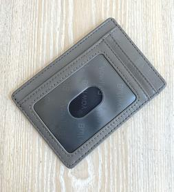 Buffway Slim Grey Leather Wallet RFID protection