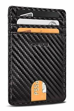 Buffway Slim Minimalist Card Holder Leather Wallet For Mens