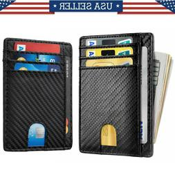 Slim Minimalist Front Pocket RFID Blocking Carbon Fiber Wall