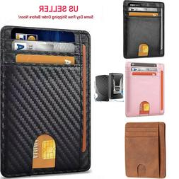 Slim Minimalist Front Pocket RFID Blocking Leather ID Card W