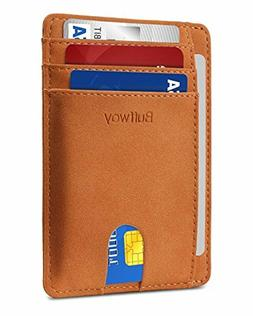 Buffway Slim Minimalist Front Pocket RFID Blocking Leather W