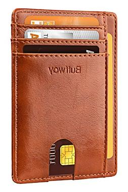 Slim Minimalist Front Pocket RFID Blocking Leather Wallets f