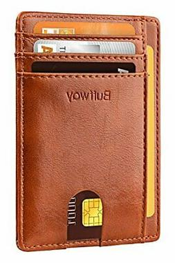 Buffway Slim Minimalist Front Pocket RFID Blocking Leather