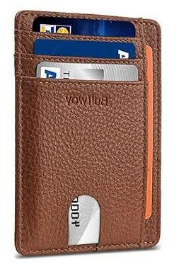 Buffway Slim Minimalist Leather Wallet RFID Blocking Brown F