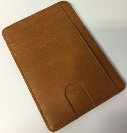 Buffway Slim Minimalist Leather Wallets for Men & Women - Br
