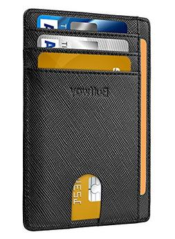 Slim Minimalist Leather Wallets for Men & Women - Cross Blac