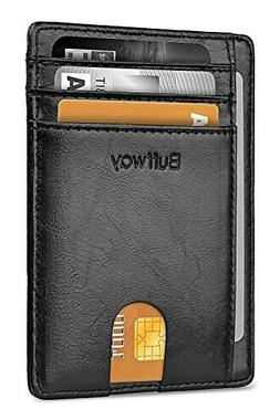 Buffway Slim Minimalist RFID Blocking Leather Wallet for Men