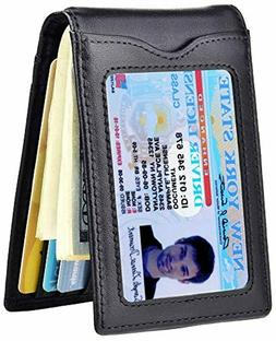 Slim Wallet with Money Clip RFID Blocking Minimalist Bifold