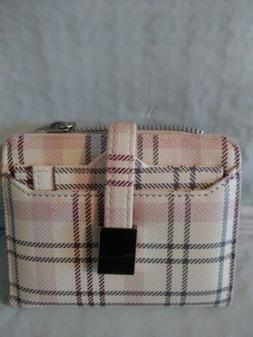 Small Bifold Wallet safe keeperTM pockets pink and cream