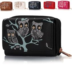 Small Owl Tree girls Ladies Card Coin Wallets Women Designer