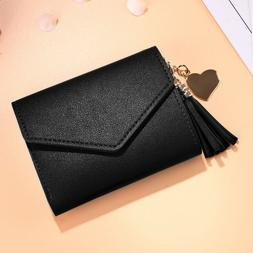Small Wallet for Women Leather Folding Coin Card Holder Lady