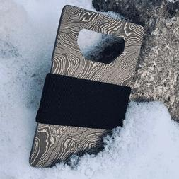 STOIC Damascus Steel Wallet Card Holder with Bottle Opener a