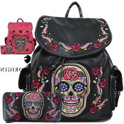 Sugar Skull Day of the Dead Rose Backpack Daypack Women Scho