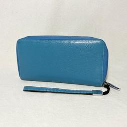 Teal Dante RFID Blocking Women's Leather Wallet and Clutch w