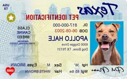 Texas ID drivers license Dog/Cat personalized pet tag and Wa