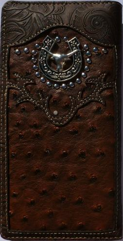 Mens Wallet Western Bifold Check Book Style W069-6 Brown