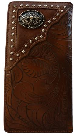 Texas Long Horn Mens Wallet Western Bifold Check Book Style