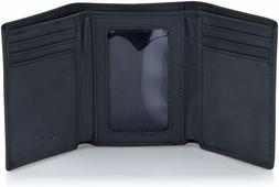 Trifold Napa Leather Wallet Stealth Mode for Men w/RFID Bloc
