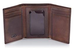 Stealth Mode Trifold RFID Blocking Brown Leather Wallet for