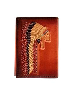 Ariat Unisex-Adult's Native Head Dress Trifold Wallet, tan