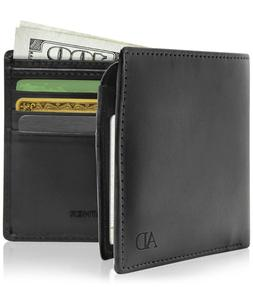 Vegan Faux Leather Bifold Wallets For Men With Flip-Up ID Wi