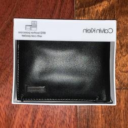 Calvin Klein Wallet Black Smooth Leather Bifold with Coin Po
