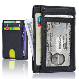 Wallet for Men Slim Leather Wallet with Money Clip ID Window