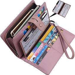 Wallet for women-RFID Blocking Real Leather checkbook wallet