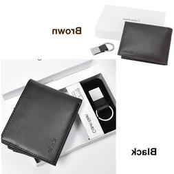 Calvin Klein Wallet Black Smooth Leather Bifold with Key FOB