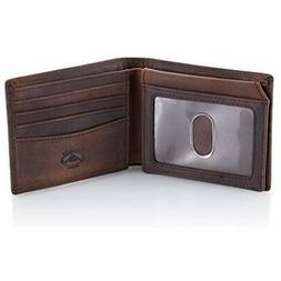 Wallets Brown Leather Bifold For Men With ID Window And RFID