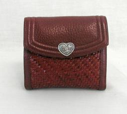 Brighton Weaved & Pebble LEATHER Red Wallet/Purse with Detac
