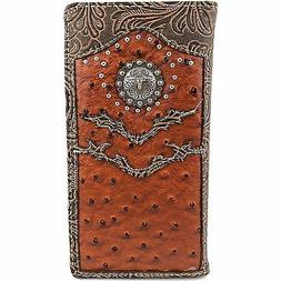 Western Longhorn Concho Men Tooled Ostrich Leather Bifold Wa