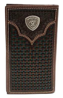 Ariat Western Mens Wallet Rodeo Leather Weave Embossed Conch