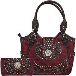 Western Style Rhinestone Concho West Concealed Carry Purse C