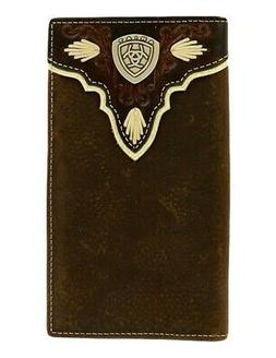 Ariat Western Wallet Mens Rodeo Pierced Logo Shield Med Brow