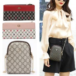 Women Clutch Leather Wallet Long Card Holder Phone Chain Bag