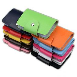 women PU Leather Pocket Business ID Credit Card Holder Case
