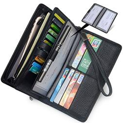 Women's Big Fat RFID Leather Wristlet Wallet Organizer Large