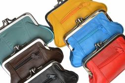 Women's Leather Metal Frame Double Clasp Zipper Coin Purse 5