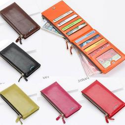 Women's Leather Wallet Credit Card Holder Clutch Purse Check
